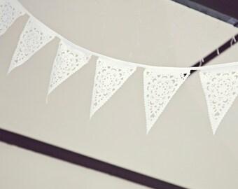 White wedding bunting, 5 metres
