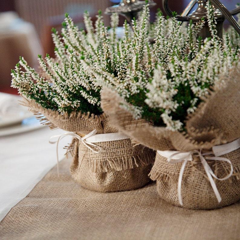 Rustic Wedding Decoration burlap plant wrap with satin tie image 0