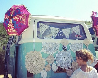 Boho Lace bunting, gorgeous sophisticated fabric party decorations