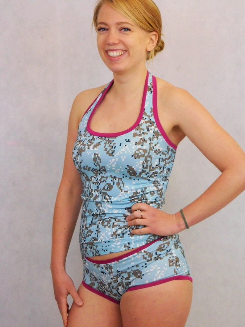 Halter Top and Panties with Baby Blue Graphic Pattern