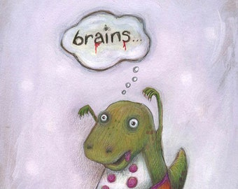 Edgar the Zombie Dinosaur - fun dinosaur print - for adults and children - dinosaur picture - zombie picture