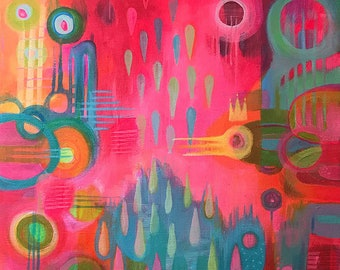 King of the Sky print - unusual funky and stand out - bright vivid and colourful abstract print