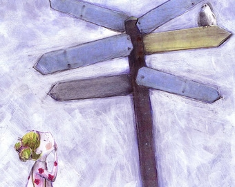 Which Way? - whimsical signpost - boy or girl - lost and found - where to go - blue - kids illustration
