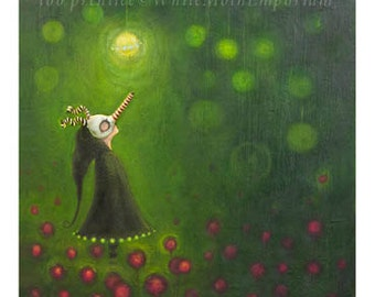 The Decision  - Green background with whimsical character - fairytale - Unique style - forest - woods - light