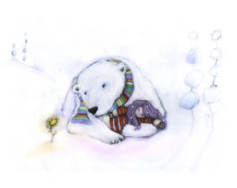 Sleep in the arms of a bear - A4 print - peacefully sleep - To sleep in the arms of a giant bear; undisturbed, loved and safe from harm.