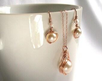 Anniversary Jewelry Set, Rose Gold Swarovski Pearl Jewelry Set, Engagement Gift
