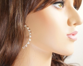 Swarovski Crystal Hoop Earrings, Wire Wrapped Handmade Jewelry, Gift for Her