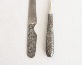 Vintage Etched Sterling Silver Manicure Set - Antique Nail File and Cuticle Knife with Sterling Handles