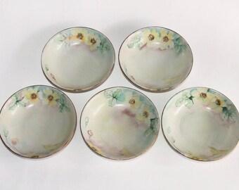 Antique Beyer & Bock Royal Rudolstadt Prussia Hand Painted Porcelain Bowls - Set of 5 Bowls