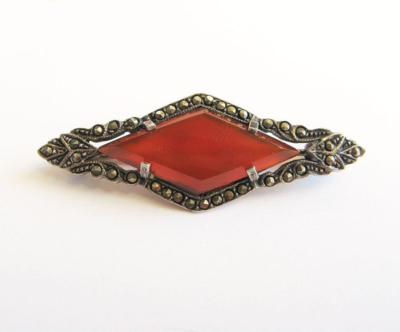 Marked 925 Vintage Sterling Silver Marcasite and Garnet Art Deco Style Pin