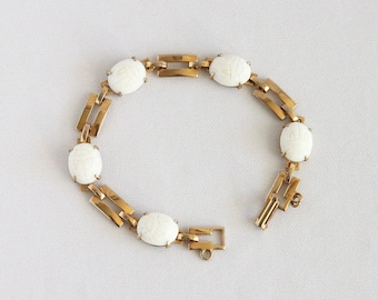 Vintage Milk Glass Scarab Bracelet - Molded White Glass Cabochons Egyptian Revival Jewelry