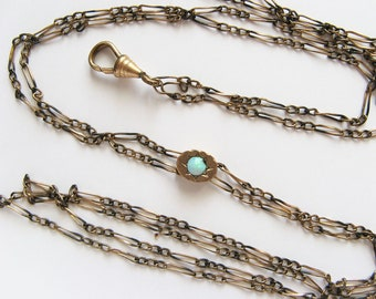 Antique Opal and Gold Filled Slider Pocket Watch Chain