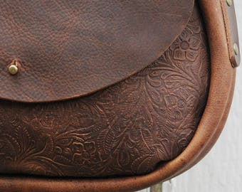 Tooled Leather Cross Body Saddlebag  | THE ROSA  | Festival Bag | Boho Bag