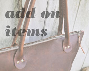ADD ON ITEMS for all leather totes, Pocket, Brown leather tote, brown leather bag, brown leather purse