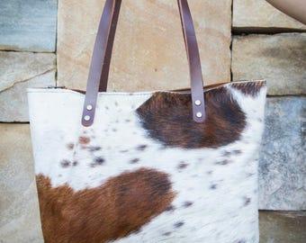42f0d616c91 Cowhide Leather Tote, Leather Tote, Leather Bag, Cowhide Bag, Cowhide Tote,  Zippered Leather Bag