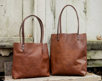 USA made Rustic Leather Tote With Dark Straps | Camel Leather Tote | Brown Leather | Black Leather