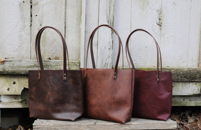 USA made Rustic Leather Tote With Dark Straps  Light Dark image 0