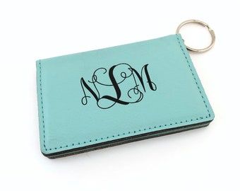 64a8840edb95 Monogrammed ID Holder Keychain in Teal, Four Color Options Personalized Key  Fob, ID Badge Holder Graduation Gift ID Wallet