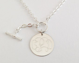 d96694a7b Monogram Necklace in Sterling Silver Toggle Necklace Classic Style for  Women Bridesmaid Present