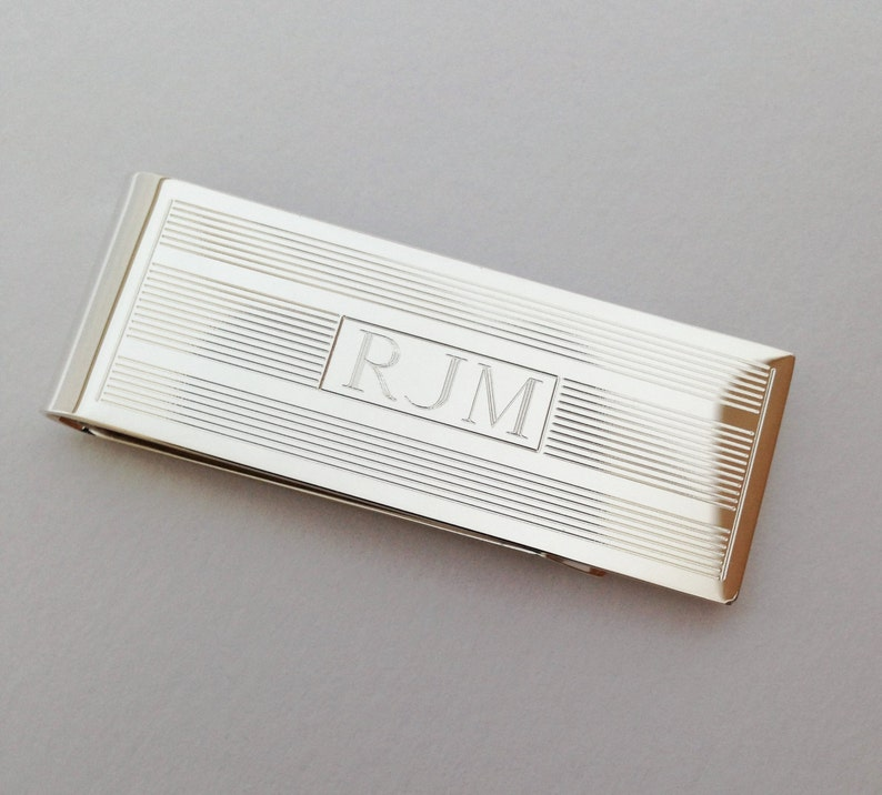 bbcb080392ce Sterling Silver Money Clip Personalized- Classic Linear Design Monogram  Engraving Included