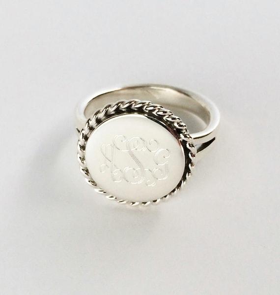Nautical Rope Monogram Sterling Silver Ring