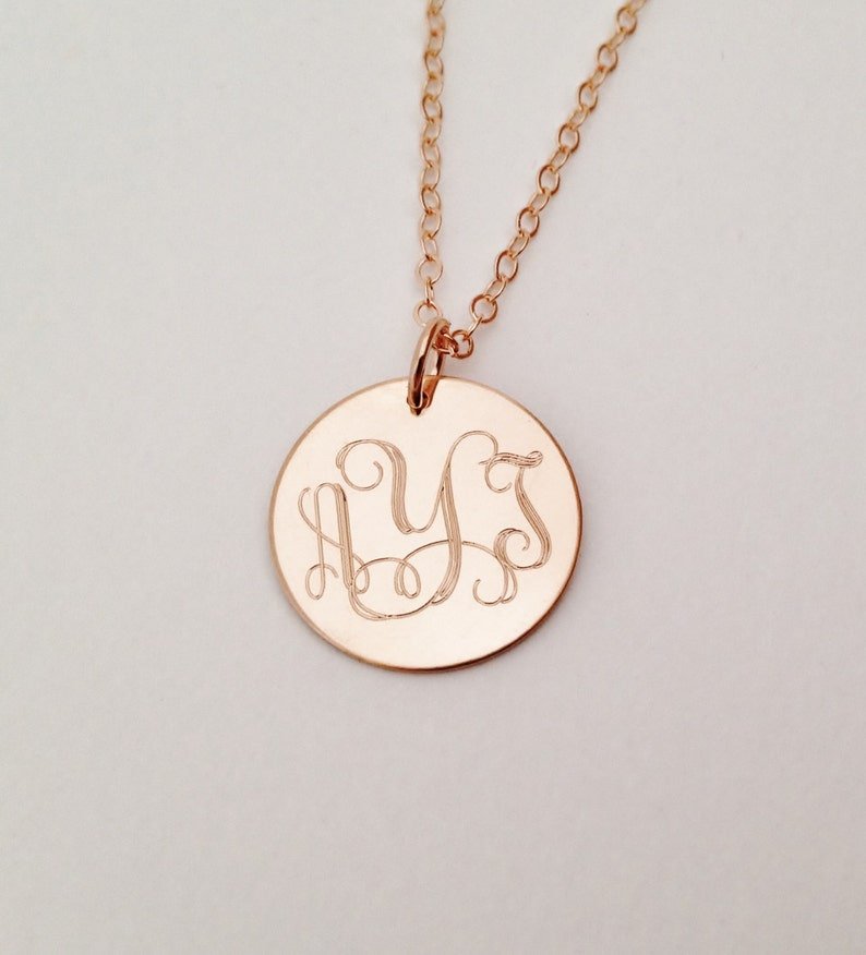 Rose Gold Monogram Necklace Bridesmaids Present Mother image 0
