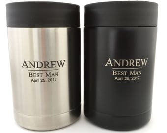 Stainless Steel Can Cooler - Personalized Groomsmen Gifts - Monogram Can Holder in Black or Silver - Personalized Can Holder