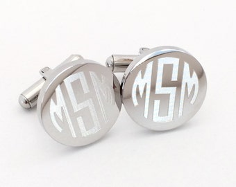 Monogrammed Cufflinks in Stainless Steel Round Personalized Custom Initials Engraved