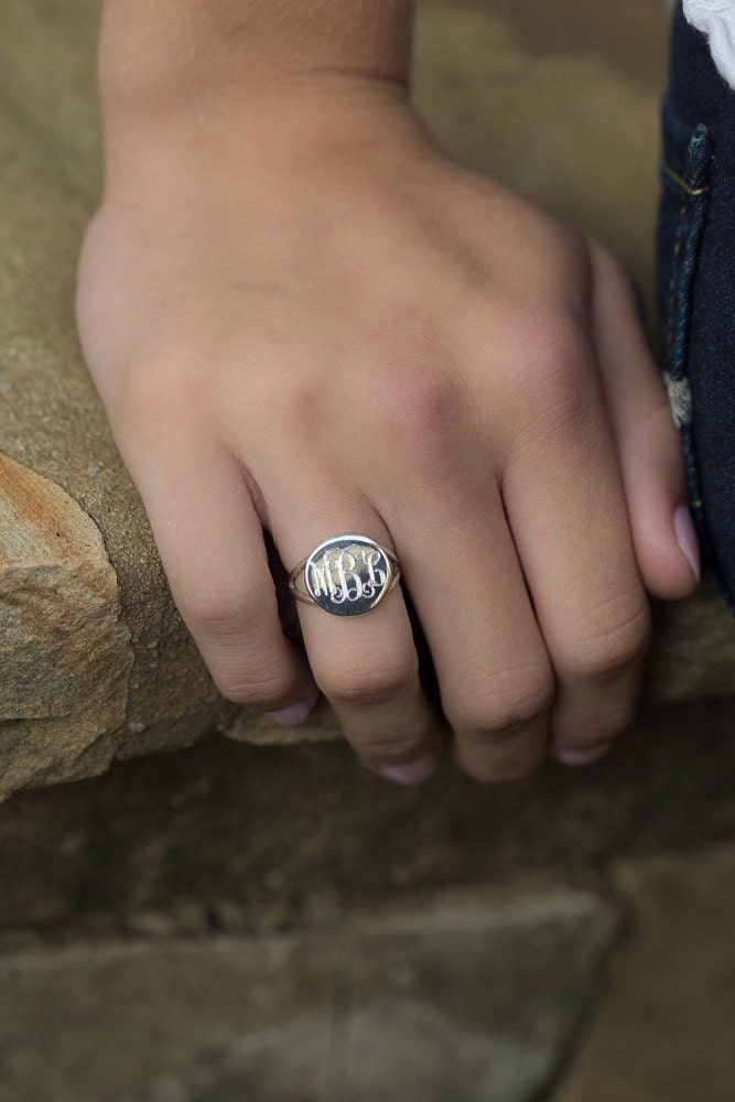 Monogrammed Ring in Sterling Silver for Women or Christmas Present Round