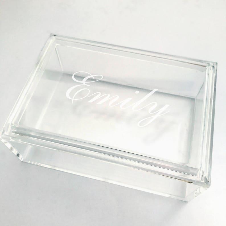 Jewelry Box Personalized for Girls Acrylic Graduation Present Monogram Jewelry Box Bridesmaid Gift Jewelry Organizer Box
