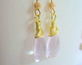 Morganite Pale Pink quartz Faceted Pyramid Briolettes Earrings, Wire Wrapped, Gemstone, Womens Jewelry, Birthday Gift, Wrapped Teardrop