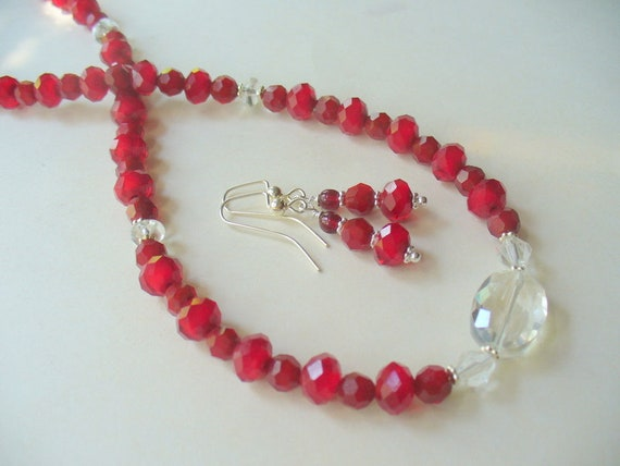 Red Necklace multi strand necklace,Gift for Her Necklace Christmas Gift Handmade Red Glass Bead Double Strand Necklace Beaded Necklace
