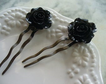 Black Rose Hairpins, Antique Brass with Cabochon Rose, Shabby Chic, Hair Pin, Hair Accessories