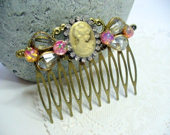 Lady Cameo, Opal Filigree Hair pins, Rhinestone and Opal, Antique Brass Comb, Bohemian Style, Bridal hair comb, Hair jewelry, Fall Wedding