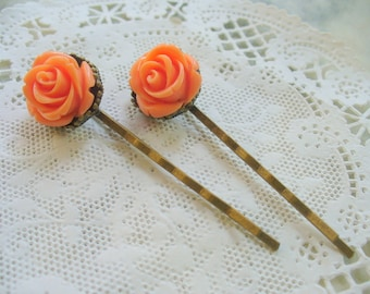 Orange Rose Hairpins, Antique Brass, Crown Hair Clips, Hair Accessories, Flowers, Bobby Pins, Weddings