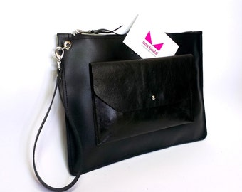 Black leather clutch with zipper
