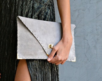 Light gray suede leather clutch purse