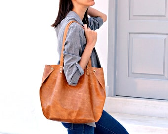 Gingerbread leather tote bag