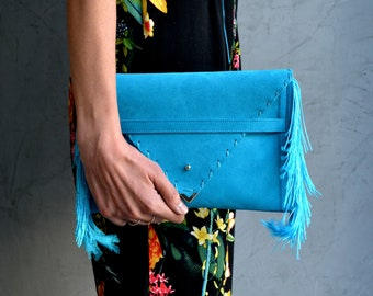 Small Medusa Clutch in turquoise