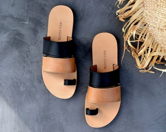 Zenia sandals in camel and black