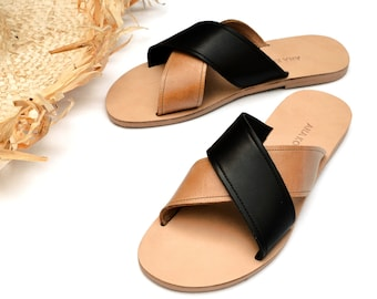 Melia sandals in camel and black