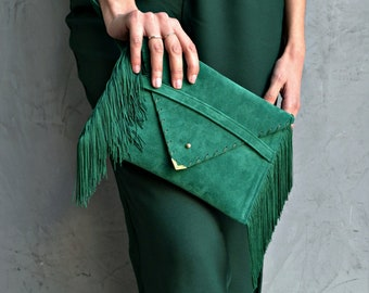 Small Medusa Clutch in emerald