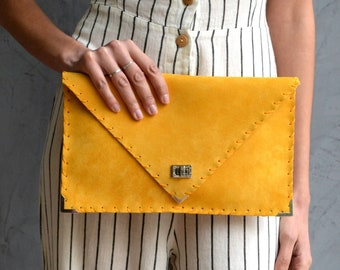 Mustard suede leather clutch purse