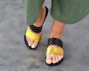 Ekati sandals in gold - black