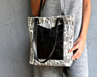 Black and white snake leather tote bag