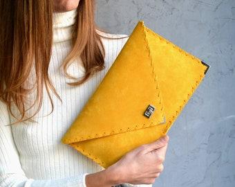 Mustard suede leather clutch purse