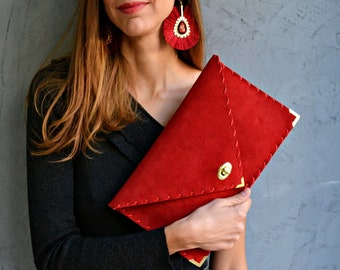 Red suede leather clutch purse