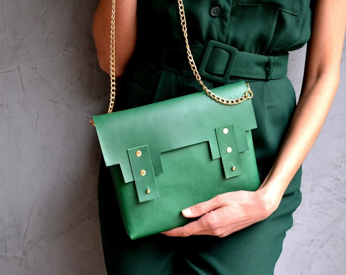 Featured listing image: Deep green leather minimal purse