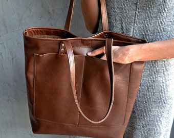 Large brown leather tote bag