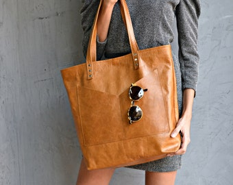 Large camel brown leather tote bag